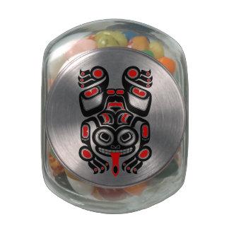 Red and Black Haida Spirit Tree Frog Glass Candy Jar
