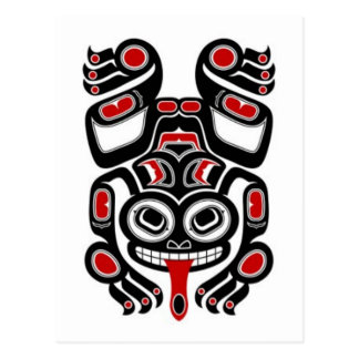 Red and Black Haida Spirit Tree Frog Postcard