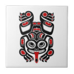 Red and Black Haida Spirit Tree Frog Tiles