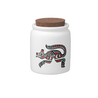 Red and Black Haida Spirit Wolf Candy Dishes