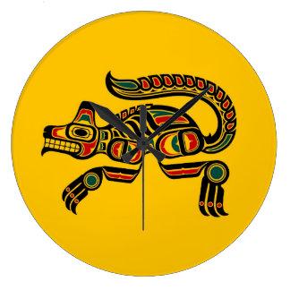 Red and Black Haida Spirit Wolf on Yellow Wallclocks