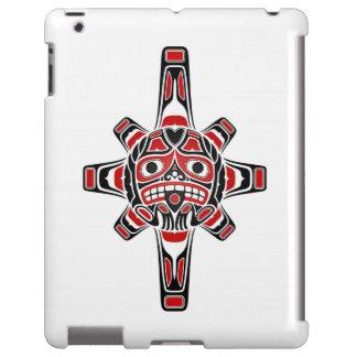 Red and Black Haida Sun Mask on White