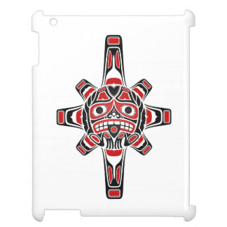 Red and Black Haida Sun Mask on White Cover For The iPad