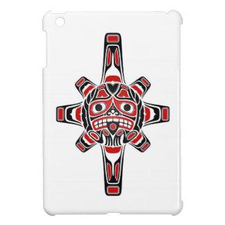 Red and Black Haida Sun Mask on White Case For The iPad Mini