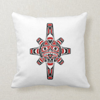 Red and Black Haida Sun Mask on White Pillow