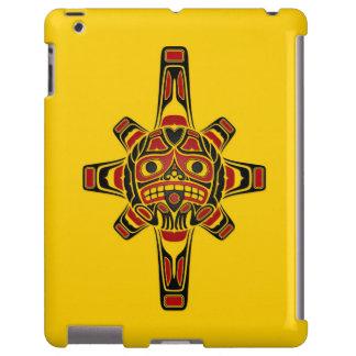 Red and Black Haida Sun Mask on Yellow