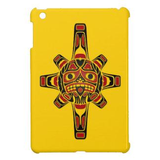Red and Black Haida Sun Mask on Yellow iPad Mini Case
