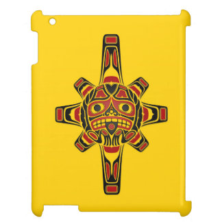 Red and Black Haida Sun Mask on Yellow Case For The iPad