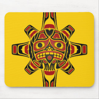 Red and Black Haida Sun Mask on Yellow Mouse Pad