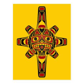 Red and Black Haida Sun Mask on Yellow Postcard
