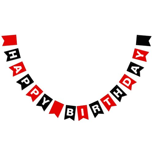 Red and Black Happy Birthday Bunting Flags