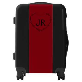 Red and black heart monogram luggage trolley