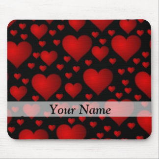 Red and black heart pattern mouse pad