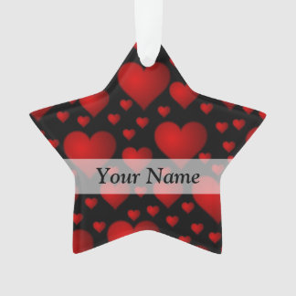 Red and black heart pattern ornament