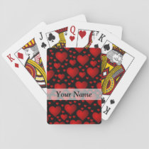 Red and black heart pattern playing cards