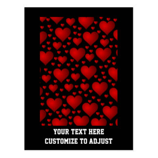 Red and black heart pattern postcard