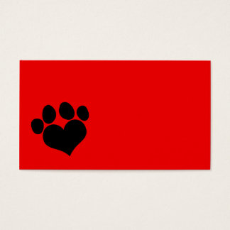 Red and Black Heart Paw Print Business Card