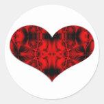 red and black heart round sticker