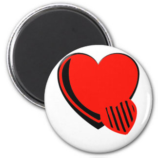 Red and Black Hearts 2 Inch Round Magnet