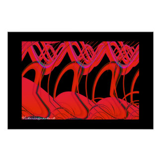 Red and Black Hearts abstract Poster