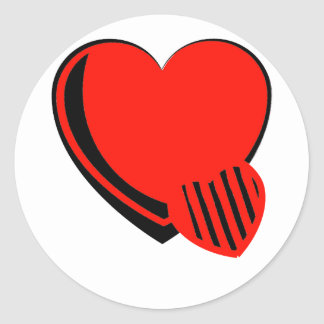 Red and Black Hearts Classic Round Sticker