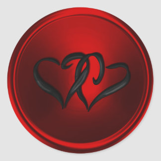 Red and Black Hearts Envelope Seal Classic Round Sticker