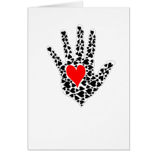 Red and black hearts hand outline greeting card