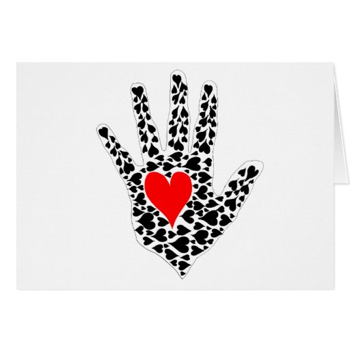 Red and black hearts hand outline card