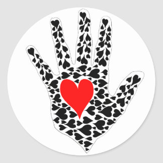 Red and black hearts hand outline classic round sticker