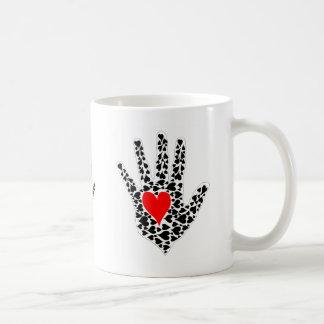 Red and black hearts hand outline coffee mug