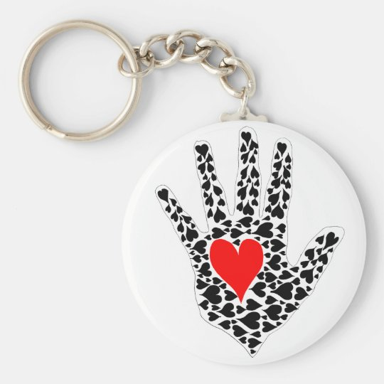 Red and black hearts hand outline keychain