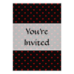Red and Black Hearts. Pattern. Custom Invites