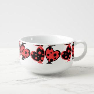 Red And Black Hearts Soup Mug
