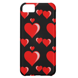 Red and Black Hearts Valentine s Day Pattern iPhone 5C Case