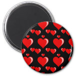 Red and Black Hearts Valentine's Day Pattern 2 Inch Round Magnet