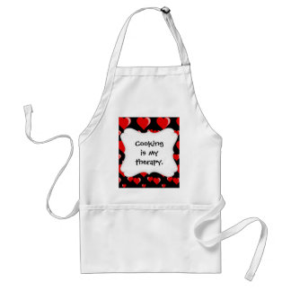 Red and Black Hearts Valentine's Day Pattern Adult Apron