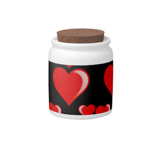 Red and Black Hearts Valentine's Day Pattern Candy Jar