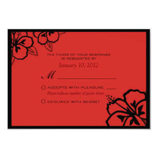 Red and Black Hibiscus Flower Custom RSVP Card