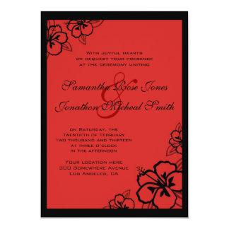 Red and Black Hibiscus Flowers Custom Wedding Card