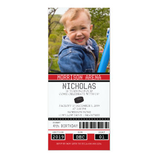 Red and Black Hockey Ticket Birthday 4x9.25 Paper Invitation Card