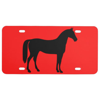 Red and Black Horse Silhouette License Plate
