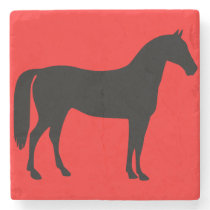 Red and Black Horse Silhouette Stone Coaster