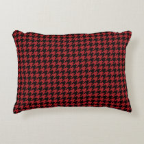Red and Black Houndstooth Accent Pillow