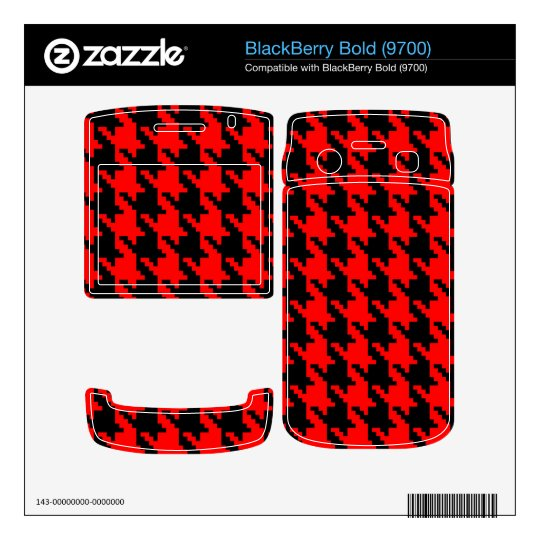 Red and Black Houndstooth BlackBerry Decal