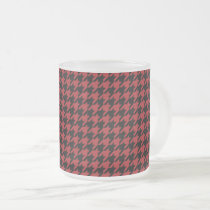 Red and Black Houndstooth Frosted Glass Coffee Mug