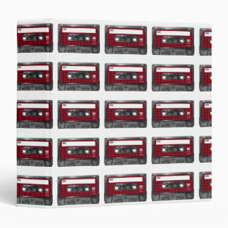 Red and Black Houndstooth Label Cassette 3 Ring Binders