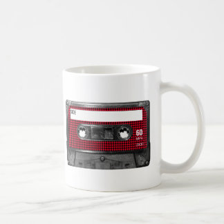 Red and Black Houndstooth Label Cassette Coffee Mug