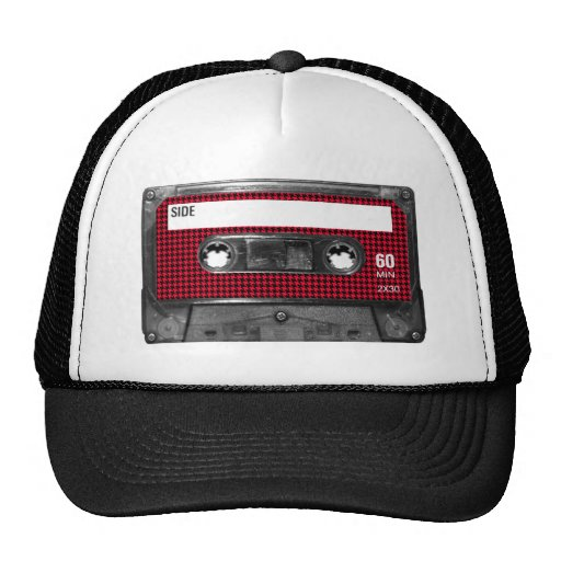 Red and Black Houndstooth Label Cassette Hats