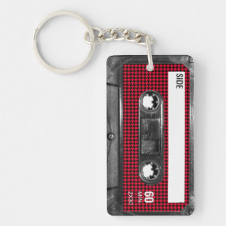 Red and Black Houndstooth Label Cassette Keychain