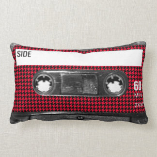 Red and Black Houndstooth Label Cassette Throw Pillow